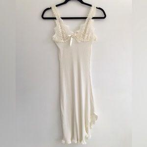 VINTAGE White Lace Cotton Slip Dress
